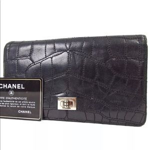 Chanel crocodile style stitches 2.55 wallet